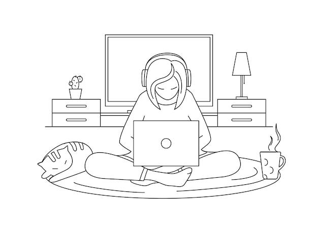그 소녀는 고양이와 커피 한 잔 옆에서 노트북 작업을 하고 있습니다. 색칠 공부 페이지.