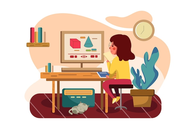 Девушка изучает онлайн-репетиторство по математике.