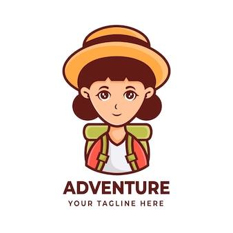 모험 또는 등반 로고 디자인을 위한 소녀 마스코트 캐릭터