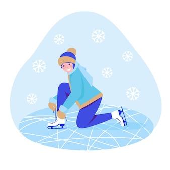 リンクの女の子はスケートをします。ベクトルイラスト。フラットスタイル。