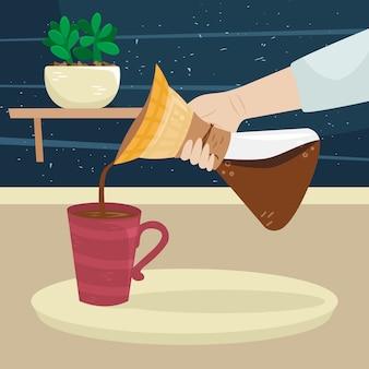 Девушка наливает кофе из фильтра кофеварки в чашку кофе. альтернативные способы заваривания кофе. кофейная культура.