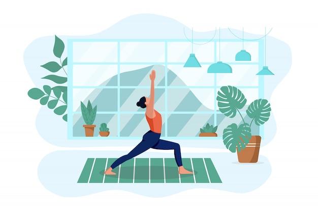 소녀는 집에서 깔개에 거실에서 요가를 연습합니다. 그는 운동을하고 묵상합니다. 격리 된 흰색 배경입니다. 인테리어 디자인과 건강한 라이프 스타일의 개념. 삽화
