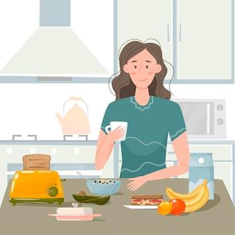 女の子は朝、台所で朝食を準備します。キッチンのインテリア、食器、電化製品。果物、お粥、牛乳、一杯のコーヒー。