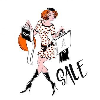 Девушка, шоппинг. sale.discounts. покупки. шопоголик.