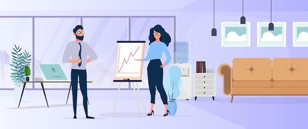 女の子は上司に報告を示します。ポジティブなダイナミクスを備えたプレゼンテーション。紙のボード。インフォグラフィック。ビジネスの成長。オフィス。孤立。 。