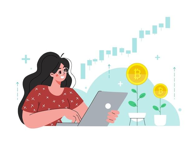 女の子はラップトップに座っています女性はビットコイン株式市場に投資しています若い世代