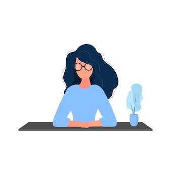 女の子は腕を組んでテーブルに座っています。テーブルのクローズアップで眼鏡をかけた女性。孤立。ベクター。