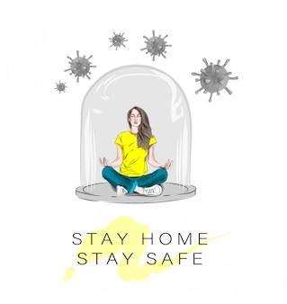 女の子はガラスの鈴の下で蓮華座に座っています。自己分離の概念。コロナウイルス、ウイルスとの戦いの概念、公衆衛生への危険とリスク。多くのバイラル攻撃