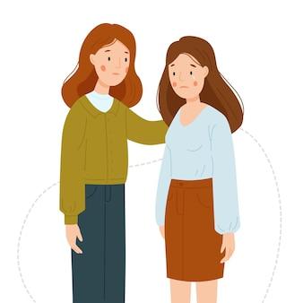女の子は彼女の友人をサポートします女の子は泣いています女性は白い背中に孤立してお互いをサポートします