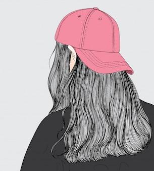 Девушка, одетая в розовую шляпу, которая ей нравится, собирается на вечеринку
