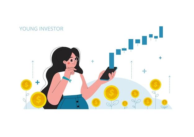 Девушка с мобильным телефоном на фондовом рынке, рост инвестиций на фондовом рынке