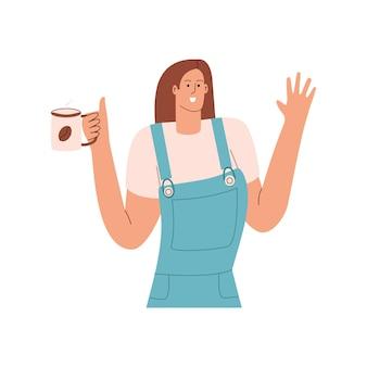 ホットコーヒーのマグカップを持つ少女は、挨拶のジェスチャーを示しています。フラットスタイルのベクトル図