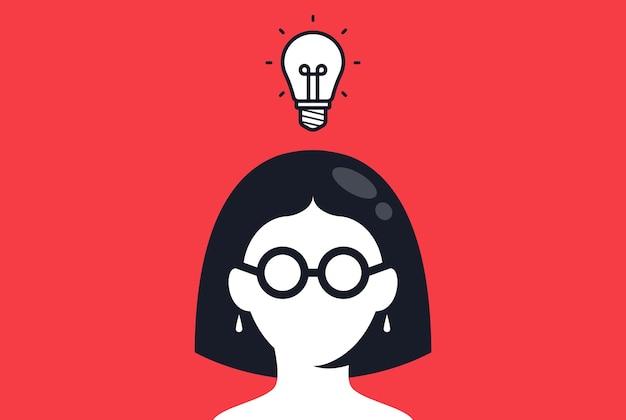 眼鏡をかけた女の子は、質問のベクトル図に対する素晴らしいアイデアの答えを思いついた