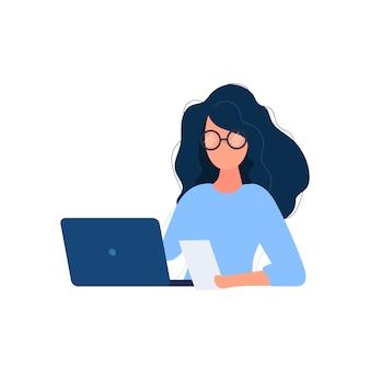 女の子はラップトップで働いています。フラットスタイル。イメージワーク、オフィス、採用スタッフに最適。図。