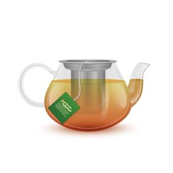 Стеклянный чайник с черным чаем. реалистичная иллюстрация eps 10