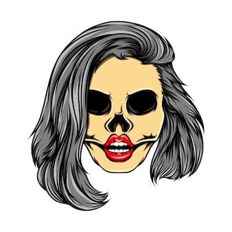 Глянцевый женский череп со сложенными волосами каре в стиле иллюстрации