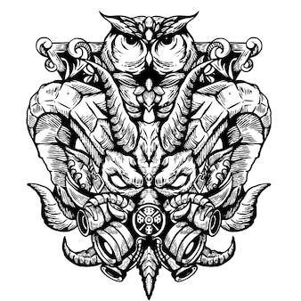 白い背景の上のヤギとフクロウのタトゥーのイラスト