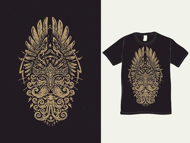 Винтажный дизайн футболки бог войны варвар