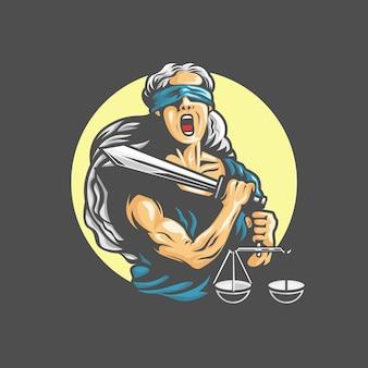 Богиня фемида с мечом справедливости и гирями в руках. кричащие эмоции. иллюстрация
