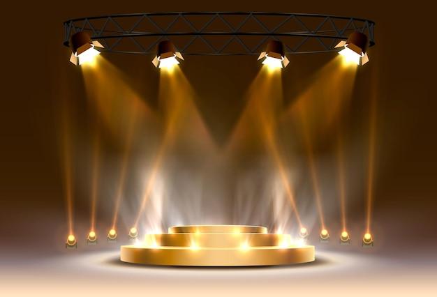 金の表彰台は、明るい背景で勝者または人気があります