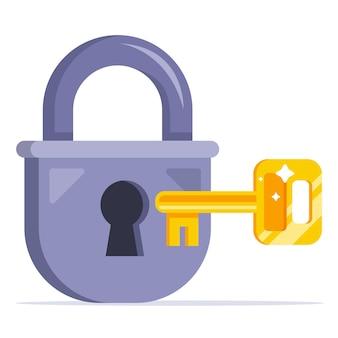 황금 열쇠는 자물쇠를 엽니다. 평면 벡터 일러스트 레이 션 흰색 배경에 고립입니다.