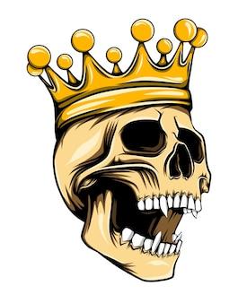 上部に王冠がある黄金の王の頭蓋骨