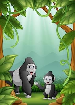 ジャングルのゴリラが幸せな活動