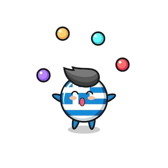 공을 저글링하는 그리스 국기 서커스 만화, 티셔츠, 스티커, 로고 요소를 위한 귀여운 스타일 디자인