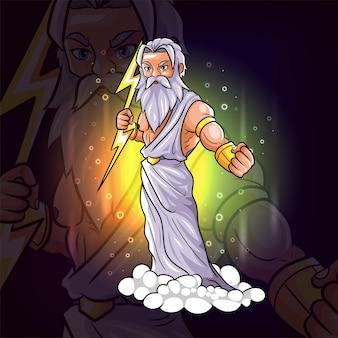 Греческий сильнейший бог зевса киберспорт талисман дизайн иллюстрации
