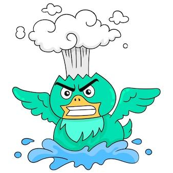 緑の鳥は怒った顔の熱い頭を爆発させていた、ベクトルイラストアート。落書きアイコン画像カワイイ。