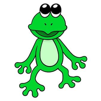 Зеленая лягушка счастливо улыбается, векторные иллюстрации искусство. каракули изображение значка каваи.