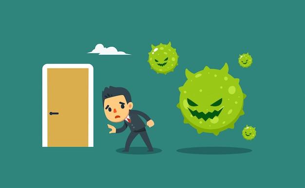 ビジネスマンを捕まえようとしている緑のウイルス。