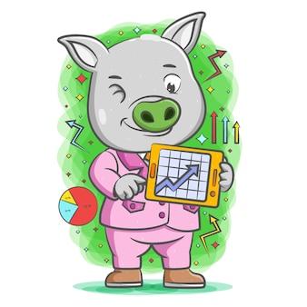 Серая свинья делает презентацию с графикой на планшете Premium векторы