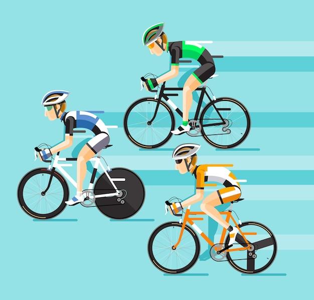 도로 자전거 경주에서 자전거 타는 사람의 그룹