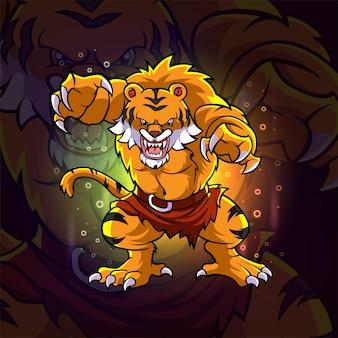 イラストの不機嫌そうな虎eスポーツマスコットデザイン