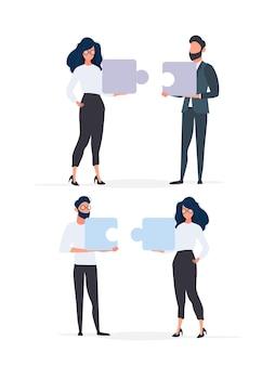 男と女はパズルのピースを持っています。チームワークの概念。孤立。ベクター。