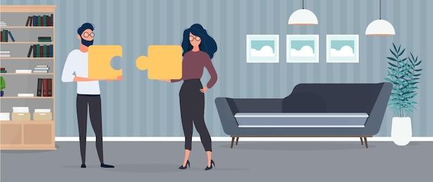 男と女はパズルのピースを持っています。女性と男性がパズルを組み立てています。オフィス。チームワーク、一緒に暮らす、または理解するという概念。ベクター。