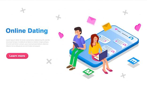 Парень и девушка общаются через сайт знакомств