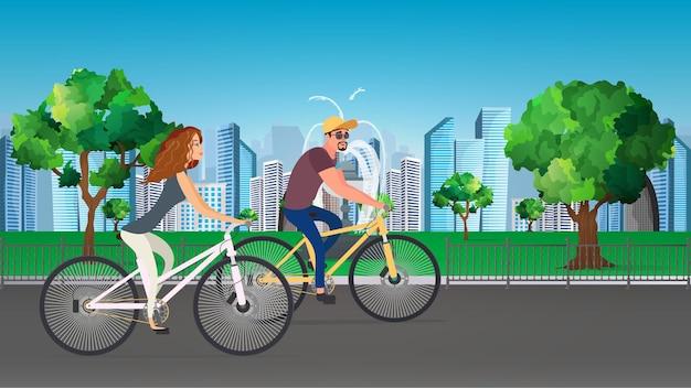 男と女は自転車に乗って公園を走ります。レクリエーションとスポーツの概念。図。