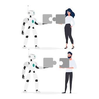 男とロボットはパズルのピースを持っています。女の子とロボットがパズルを組み立てています。チームワークの概念。
