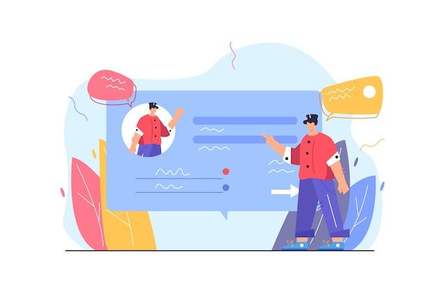 Парень заполняет свои данные в профиле аккаунта на виртуальном экране веб-сайта, изолированном на белом фоне плоской иллюстрации