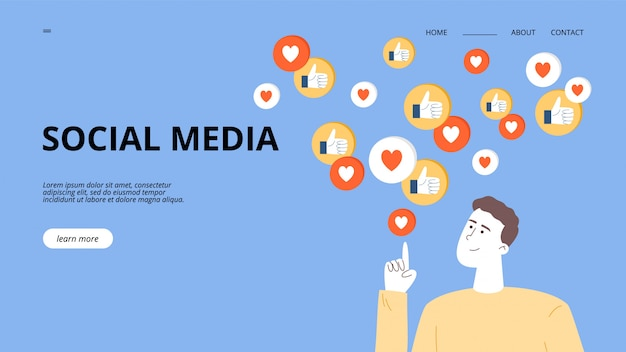 男はインフルエンサーまたはsmmマネージャーで、ソーシャルネットワークでブログを宣伝し、ターゲットユーザーから良いフィードバックを得ます。