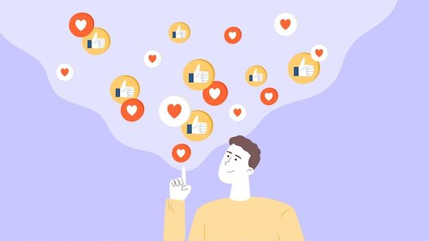 男はインフルエンサーまたはsmmマネージャーであり、ソーシャルネットワークでブログを宣伝し、ターゲットユーザーから良いフィードバックを得ます。