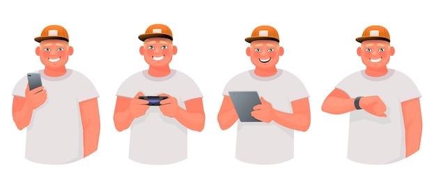 男はスマートフォンとタブレットを持って、ビデオゲームをプレイし、スマートウォッチの画面を見ています。