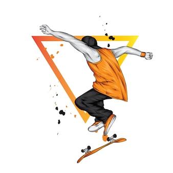 男はスケートボードでジャンプしています。ベクトルイラスト。