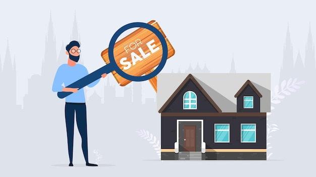 男は買う家を探しています。家や不動産を検索します。販売のためのサイン。孤立。ベクター。