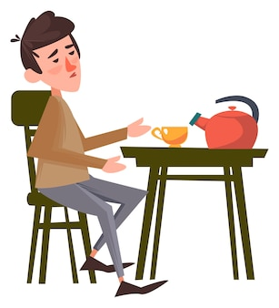 그 남자는 테이블 옆에 있는 의자에 앉아 혼자 차를 마시고 있습니다. 벡터 일러스트 레이 션