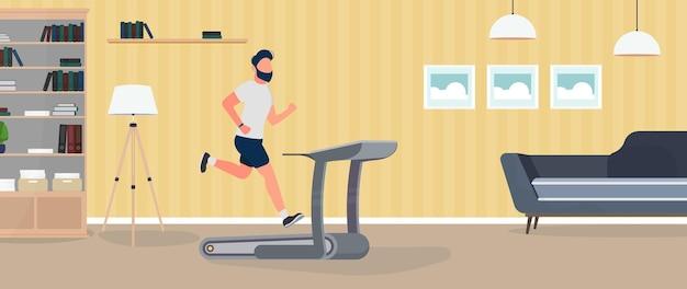 男はトレッドミルで走ります。男がシミュレーターでジョギングしています。スポーツと健康的なライフスタイルの概念。ベクター。