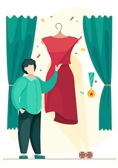 男は立って、マネキンにぶら下がっている赤いドレスを指しています。デザイナーは完成品をクライアントにデモンストレーションします。男性の裁縫師が最高のものを作り、賞を獲得します。カスタム仕立て