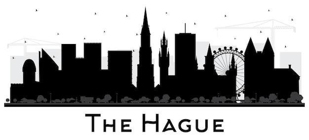 흰색 절연 검은 건물과 헤이그 네덜란드 도시 스카이 라인 실루엣. 역사적인 건축과 비즈니스 여행 및 관광 개념. 랜드마크가 있는 헤이그 도시 풍경.